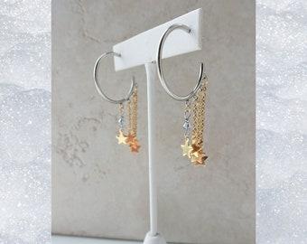 Silver Hoop Gold Star Chain Earrings, Stainless Steel Mixed Metal Earrings, Fashion Crystal Dangle Earrings, Celestial Statement Jewelry