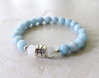Pisces Zodiac Bracelet, Aquamarine, Moonstone, Pisces Jewelry, Pisces Jewellery, Sterling Silver Pisces Bead, Zodiac Jewelry