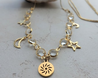Sun, Moon and Stars Gold Chain Necklace, Long or Short Slider Chain Statement Necklace, Adjustable Length, Crystal Head Chain Jewelry