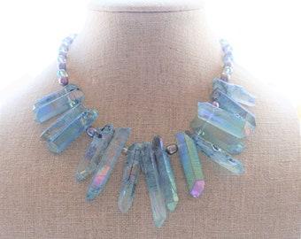 Angel Aura Quartz Statement Necklace, Blue Gemstone Statement Jewelry, Pearl and Crystal Necklace, Chunky Stone Necklace, Bohemian Jewelry