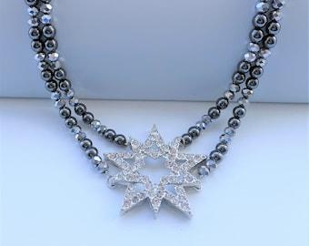 Crystal Star Hematite Stone Necklace, Multi Strand Gemstone Necklace, Black Beaded Statement Necklace, Wiccan, Goddess Statement Jewelry