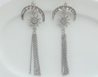 Moon and Stars Chain Statement Earrings, Celestial Goddess Rhinestone Dangle Earrings, Silver Tassel Earrings, Long Fashion Earrings