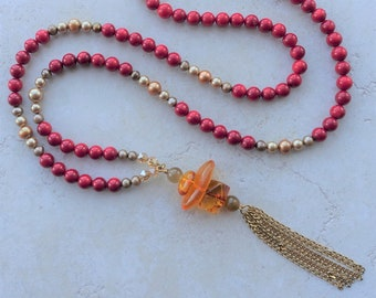 Tidepool Anklet with Freshwater Pearls Vintage Coral and Mixed Glass Beads Gold Plated