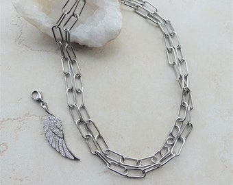 Angel Wing Pendant Link Chain Necklace, Rhinestone Angel Wing Jewelry, Long Silver Chain Necklace, Statement Necklaces, Unisex Jewelry