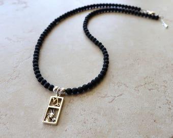 Capricorn Zodiac Necklace, Sterling Silver Capricorn Charm, Matte Black Onyx Beaded Chain, Capricorn Jewelry, Capricorn Jewellery