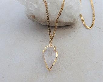 Quartz Crystal Arrowhead Gold Necklace, Gold Plated Stainless Steel Curb Chain, Arrowhead Jewelry, Gold Chain Jewelry, Statement Necklaces
