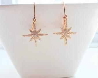 Gold Star Zirconia Drop Earrings, North Star Crystal Earrings, Crystal Dangle Earrings, Star Jewelry, Celestial Jewelry, Statement Earrings