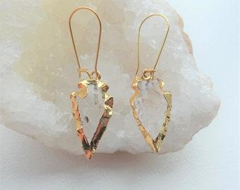 Quartz Crystal Arrowhead Dangle Earrings, Gold Plated Quartz Crystal Statement Earrings, Arrowhead Jewelry, Tribal Jewelry, Boho Style