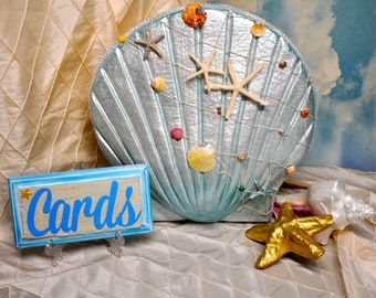 DawnsDeelights Beach Wedding Card Box Money Envelope Holder Seashell Sand Baptism Birthday Large