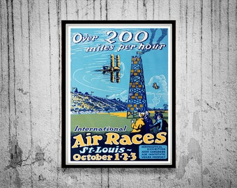 Reprint of a Vintage Air Race in St. Louis Poster