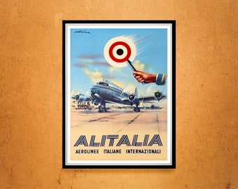 Reprint of a Vintage Italian Airline Company Poster