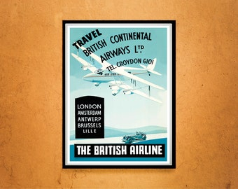 Reprint of a Vintage 1930s Britsh Airline Company Poster