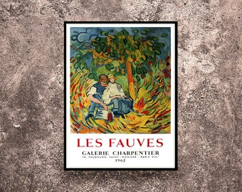 Reprint of a 1962 Vintage French exhibition Poster for works by Les Fauves