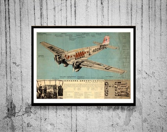 Reprint of a WW2 German Junkers 52 Poster - ORIGINAL CONDITION