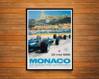 Reprint of a Vintage 1966 Monaco Motor Racing Poster