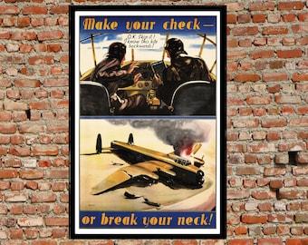 Reprint of a WW2 Aviation Poster - Preflight Check List