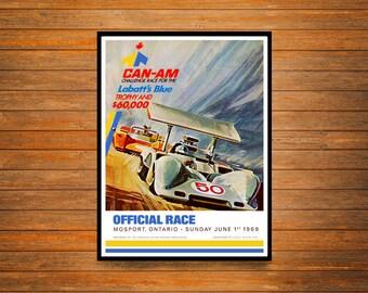 Reprint of a 1969 Can-Am Motor Racing Poster