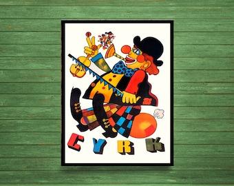 Reprint of a Vintage Polish Circus Poster