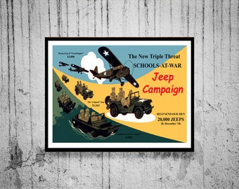 Reprint of a US WW2 Jeep Campaign Poster