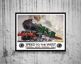 """Reprint of a Vintage British Railway """"Speed to the West"""" Poster"""