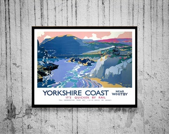 Reprint of a Vintage British Railway to the Yorkshire Coast Poster