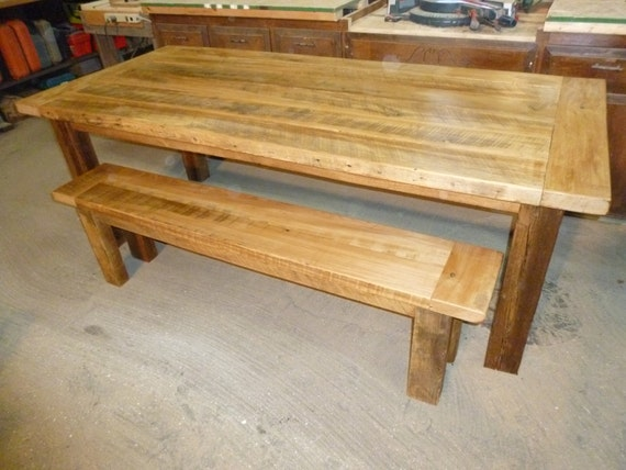 Barnwood Farmhouse Table With Matching Bench Etsy