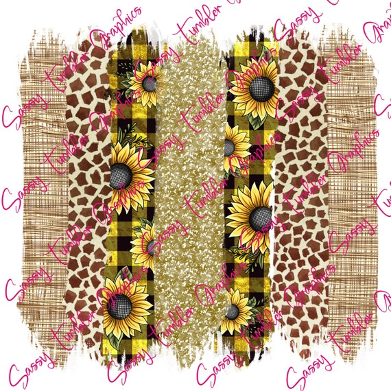 tumbler graphics sublimation background sublimation graphics waterslide files Sunflower Giraffe Brush Strokes Background PNG