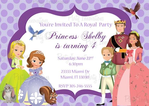 Printable Sofia The First Birthday Party Invitation