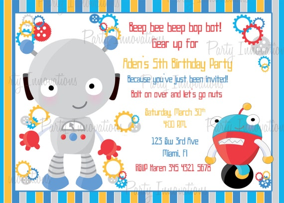printable boy robot birthday party invitation by party innovations