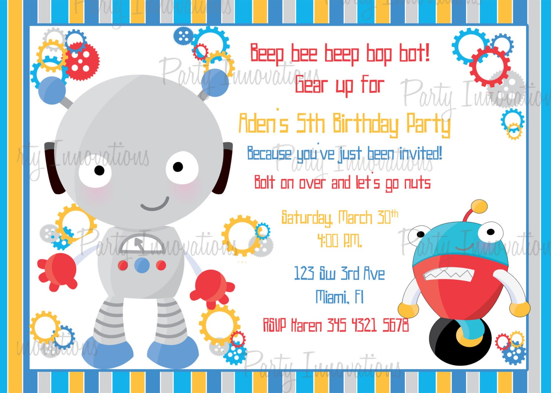 Printable Boy Robot Birthday Party Invitation plus FREE blank   Etsy