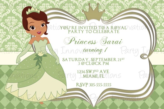 Printable princess tiana birthday party invitation etsy image 0 filmwisefo