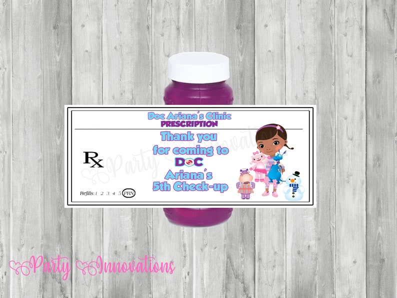 photo relating to Doc Mcstuffins Printable Labels named Printable Document McStuffins Bubble Bottle Labels