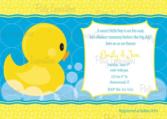 Printable Rubber Ducky Baby Shower Invitation By Party Innovations