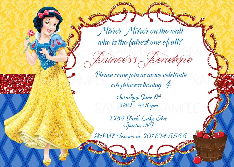 Snow White Printable Birthday Party Invitation plus FREE blank   Etsy