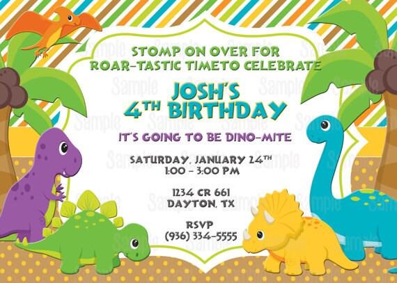 Invitación Fiesta De Cumpleaños De Dinosaurio Para Imprimir