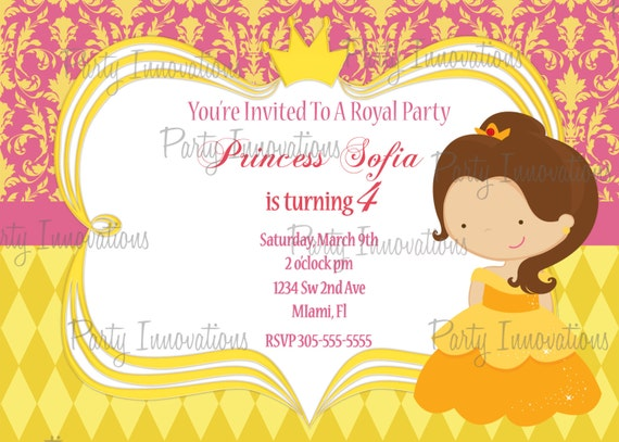Printable Princess Belle Birthday Party Invitation Plus FREE Blank