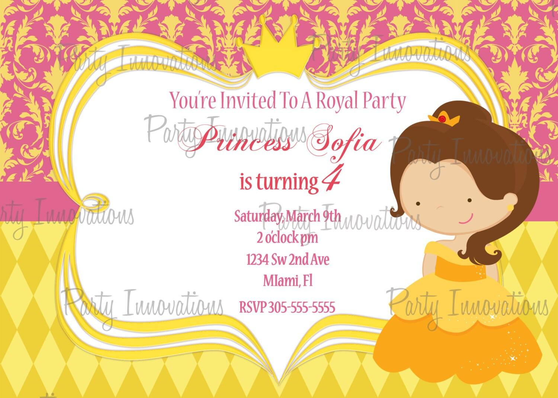 Printable Princess Belle Birthday Party Invitation plus FREE   Etsy