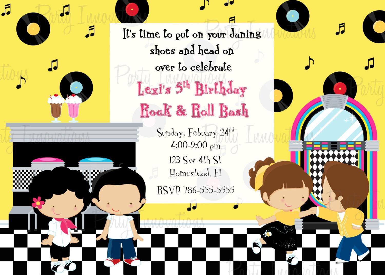 Printable Sock Hop 50s Birthday Party Invitation