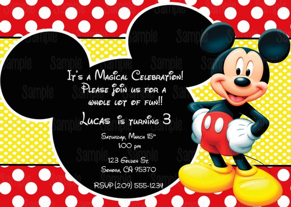 graphic about Printable Mickey Mouse Invitations named Printable Mickey Mouse Invitation