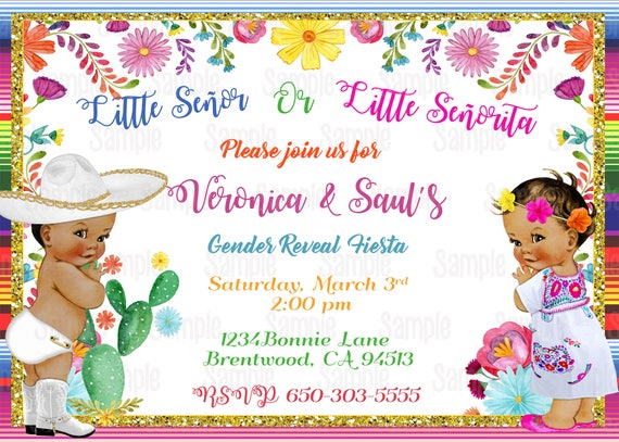 printable mexican theme gender reveal invitation by party