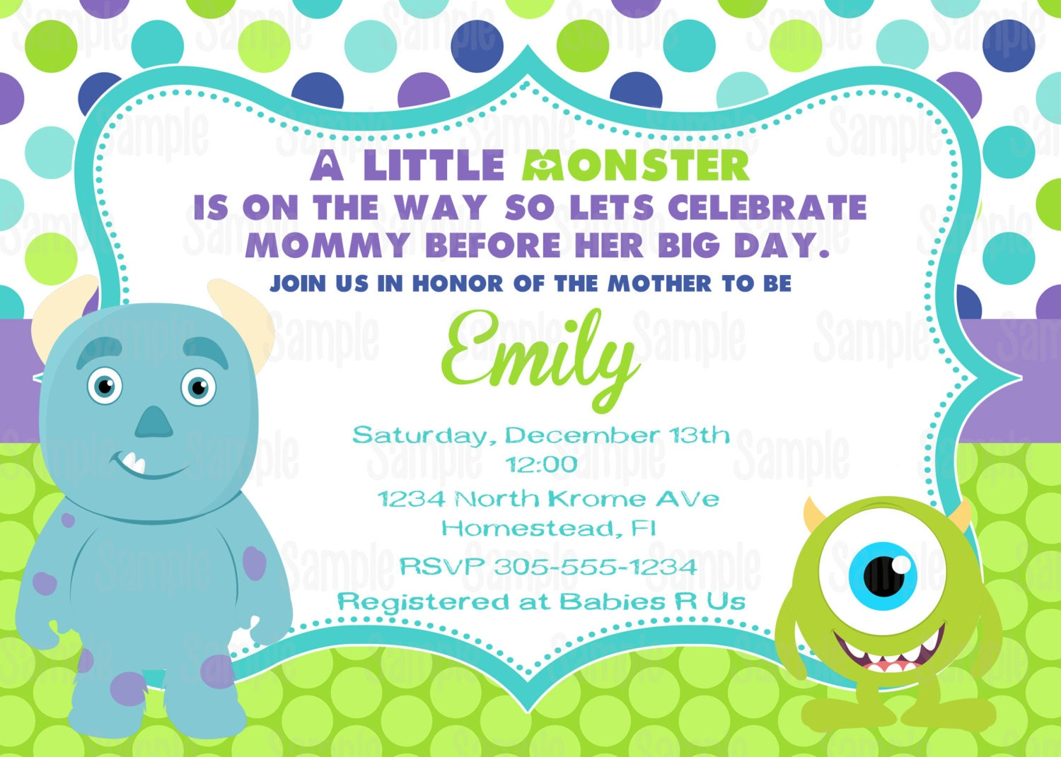 Printable Monster Inc Baby Shower Party Invitation plus FREE | Etsy
