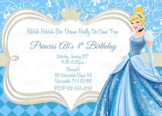 Printable cinderella birthday party invitation plus free blank etsy image 0 filmwisefo