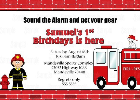 Para imprimir invitación de fiesta de cumpleaños bombero plus