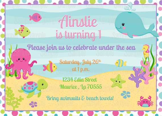 Printable Girl Under The Sea Birthday Invitation Party Innovations