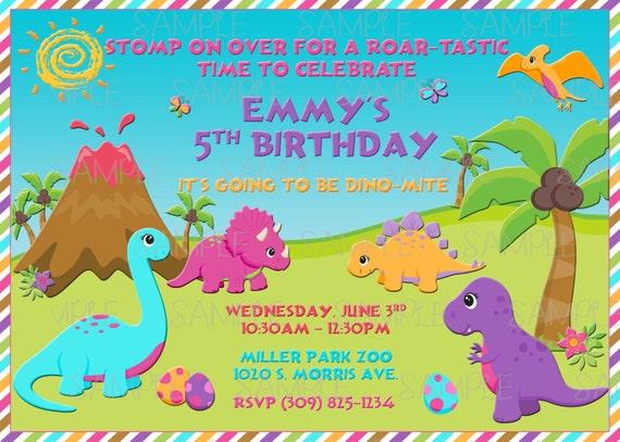 Printable Girl Dinosaur Birthday Party Invitation By