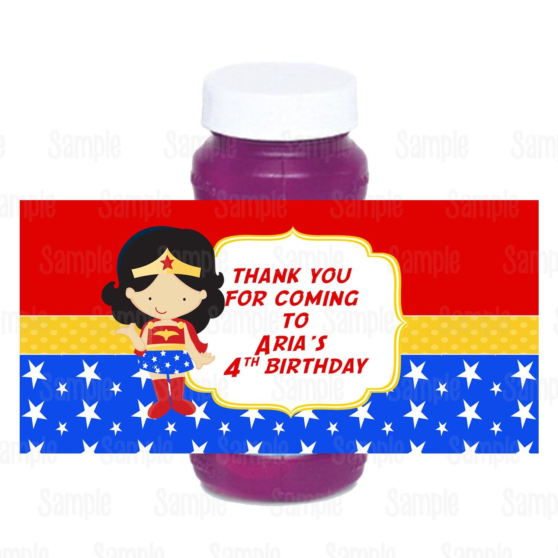Printable Wonder Woman Bubble Bottle Labels | Etsy