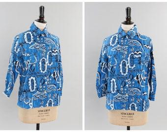 14a9e6726bc Vintage original 1950s 50s Sportaville shirt with an Alfred Shaheen tiki  Hawaiian novelty fish print UK 8 10 12 US 4 6 8 S M