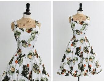 Vintage 1950s Blue Geometric Paisley Border Print Dress 50s Victor Josselyn Novelty Print Dress