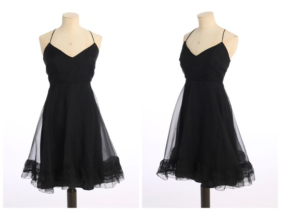 Beautiful Jean Varon Vintage 1970s Black Baby Doll Full Length Evening Gown Dress Size 8 to 10