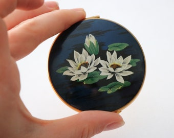 Vintage original 1950s 50s Kigu lily pad water lilies  compact mirror blue enamel with painted design